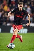 14th February 2020; Mestalla, Valencia, Spain; La Liga Football,Valencia versus Atletico Madrid; Marcos Llorente of Atletico Madrid brings the ball forward