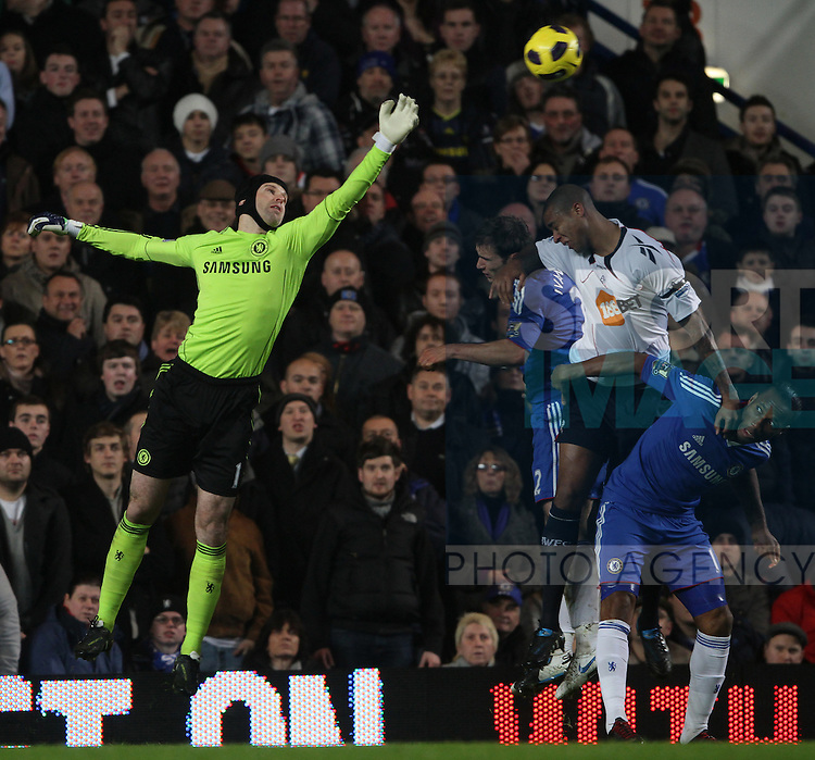 Chelseas Petr Cech clears to record his 150 clean sheet for his side