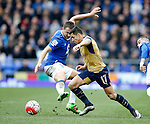 Alexis Sanchez of Arsenal skips past Phil Jagielka of Everton during the Barclays Premier League match at The Goodison Park Stadium. Photo credit should read: Simon Bellis/Sportimage