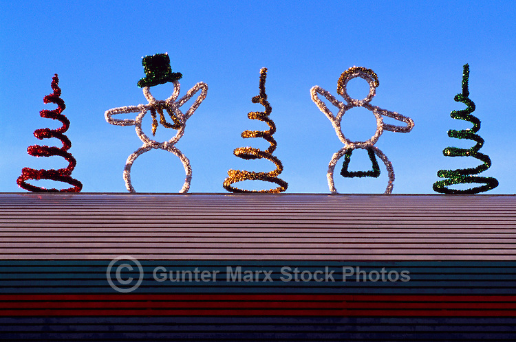 Snowman, Snowwoman, and Christmas Tree Figures and Decorations on Roof