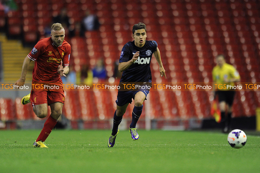 Andreas Pereira of Manchester United vies for the ball with Ryan McLaughlin of Liverpool - Liverpool Under-21 vs Manchester United Under-21 - Barclays Under-21 Premier League Football at Anfield, Liverpool - 02/05/14 - MANDATORY CREDIT: Greig Bertram/TGSPHOTO - Self billing applies where appropriate - 0845 094 6026 - contact@tgsphoto.co.uk - NO UNPAID USE