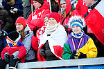 HOLMENKOLLEN, OSLO, NORWAY - March 17: Polish fans during the Ladies FIS Ski Jumping World Cup from the large hill HS 134 Holmenkollbakken on March 17, 2013 in Oslo, Norway. (Photo by Dirk Markgraf)