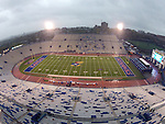 13 October 2012: Memorial Stadium was cleared during an 80 minute storm delay late in the first quarter. The Oklahoma State University Cowboys played the University of Kansas Jayhawks at Memorial Stadium in Lawrence, Kansas in a 2012 NCAA Division I Football game.