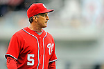 1 May 2011: Washington Nationals Manager Jim Riggleman looks out to the infield during a game against the San Francisco Giants at Nationals Park in Washington, District of Columbia. The Nationals defeated the Giants 5-2. Mandatory Credit: Ed Wolfstein Photo