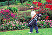Man playing golf at Nani Mau Gardens, Big Island