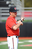 Rutgers University Scarlet Knights manager Joe Litterio (9) after a game against the University of Cincinnati Bearcats at Bainton Field on April 19, 2014 in Piscataway, New Jersey. Rutgers defeated Cincinnati 4-1.  (Tomasso DeRosa/ Four Seam Images)