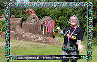 Pictured: Abigail Moss by the mythical beast sculpture by artist Gwen Heeney Saturday 13 August 2016<br />Re: Grow Wild event at  Furnace to Flowers site in Ebbw Vale, Wales, UK