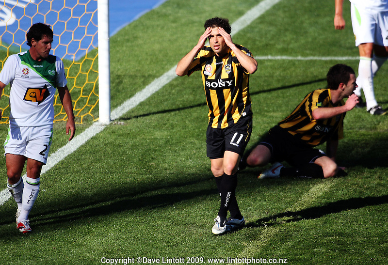 Daniel holds his head in his hands after failing to hit the back of the net during the A-League football match between Wellington Phoenix and North Queensland Fury at Westpac Stadium, Wellington, New Zealand on Sunday, 16 August 2009. Photo: Dave Lintott / lintottphoto.co.nz