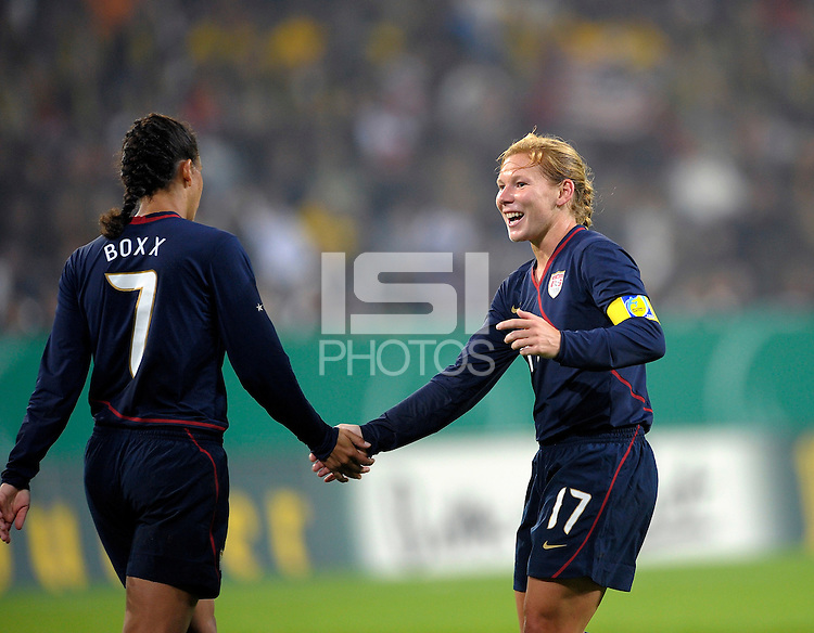 Shannon Boxx (7) and Lori Chalupny (17). US Women's National Team defeated Germany 1-0 at Impuls Arena in Augsburg, Germany on October 27, 2009.