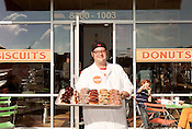 December 29, 2012. Durham, North Carolina.. Manager Brian Wiles.. RISE Bakery, located near Southpoint Mall, is known for their biscuits and donuts..