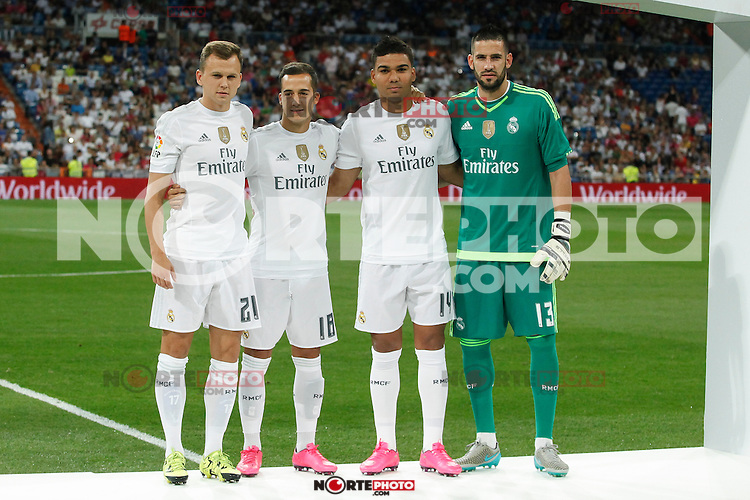 Real Madrid´s (L-R) Cheryshev, Lucas Vazquez, Casemiro and Kiko Casilla during Santiago Bernabeu Trophy match at Santiago Bernabeu stadium in Madrid, Spain. August 18, 2015. (ALTERPHOTOS/Victor Blanco)
