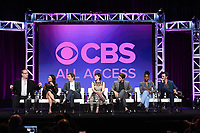 "BEVERLY HILLS - AUGUST 1:  Executive Producer/Creator Marc Cherry, Lucy Liu, Jack Davenport, Ginnifer Goodwin, Sam Jaeger, Kirby Hoewll-Baptiste, Reid Scott onstage during the ""Why Women Kill"" panel at the CBS All Access portion of the Summer 2019 TCA Press Tour at the Beverly Hilton on August 1, 2019 in Los Angeles, California. (Photo by Frank Micelotta/PictureGroup)"