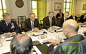 Washington, DC - June 14, 2004 -- United States Secretary of Defense Donald H. Rumsfeld (second from left) hosts a Pentagon meeting with President Hamid Karzai of Afghanistan (right foreground) in Washington, D.C. on June 14, 2004.  Joining Rumsfeld for the security discussions are Chairman of the Joint Chiefs of Staff General Richard B. Myers, United States Air Force (left), Under Secretary of Defense for Policy Douglas Feith (center), Assistant Secretary of Defense for International Security Affairs Peter Rodman (second from right), and Deputy Assistant Secretary of Defense for Special Plans and Near Eastern and South Asian Affairs William Luti (right). .Credit: Robert D. Ward / DoD via CNP