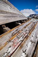 Hull of small wooden boat, Vestresand, Lofoten islands, Norway