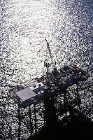 Aerial view of offshore oil drilling platform