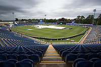 The covers on, ground staff mopping up, and a gloomy morning during Afghanistan vs Sri Lanka, ICC World Cup Cricket at Sophia Gardens Cardiff on 4th June 2019