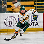 9 February 2018: University of Vermont Catamount Defender and Team Captain Taylor Willard, a Senior from Naperville, IL, in first period action against the University of Connecticut Huskies at Gutterson Fieldhouse in Burlington, Vermont. The Lady Cats defeated the Huskies 1-0 the first game of their weekend Hockey East series. Mandatory Credit: Ed Wolfstein Photo *** RAW (NEF) Image File Available ***