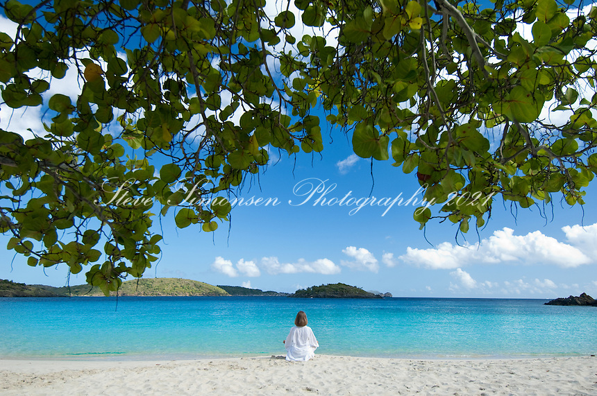 Meditating on Turtle Bay beach at Caneel Bay Resort, St. John, USVI
