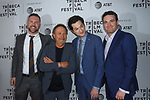 Left to right - guest, Billy Crystal, Ben Schwartz, and Matt Ratner arrive at the world premiere of Standing Up, Falling Down at the 2019 Tribeca Film Festival presented by AT&T Thursday, April 25, 2019 at SVA Theater - 333 West 23 Street New York, NY.