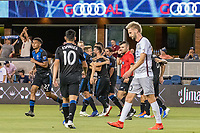 San Jose, CA - Tuesday June 11, 2019: Earthquakes players celebrate the goal of Vako Qazaishvili #11 during the US Open Cup match between the San Jose Earthquakes and Sacramento Republic FC at Avaya Stadium.
