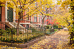 Autumn color on Marlborough Street in the exclusive Back Bay neighborhood, Boston, MA, USA