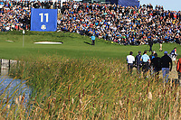 The 11th green during Saturday Foursomes at the Ryder Cup, Le Golf National, Ile-de-France, France. 29/09/2018.<br /> Picture Thos Caffrey / Golffile.ie<br /> <br /> All photo usage must carry mandatory copyright credit (© Golffile | Thos Caffrey)