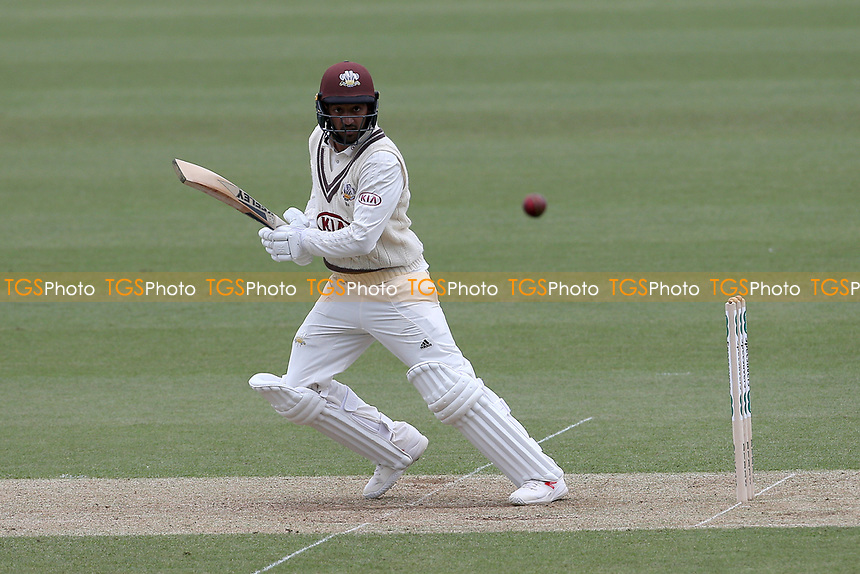 Ryan Patel scores two runs to bring up his century during Surrey CCC vs Essex CCC, Specsavers County Championship Division 1 Cricket at the Kia Oval on 12th April 2019