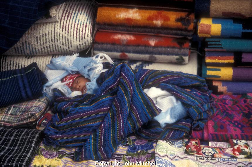 Mayan baby sleeping in the Spanish colonial town of Antigua, Guatemala