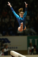 May 01, 2004; Amsterdam, Netherlands; ALINA KOZICH of Ukraine leaps on balance beam to win<br />