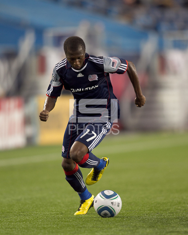 New England Revolution midfielder Sainey Nyassi (17) with the ball on the wing. The New England Revolution defeated DC United, 1-0, at Gillette Stadium on August 7, 2010.