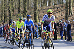 The breakaway group climb La Houppe during the 2019 E3 Harelbeke Binck Bank Classic 2019 running 203.9km from Harelbeke to Harelbeke, Belgium. 29th March 2019.<br /> Picture: Eoin Clarke | Cyclefile<br /> <br /> All photos usage must carry mandatory copyright credit (© Cyclefile | Eoin Clarke)