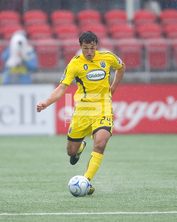 02 May 2009: Columbus Crew defender Jed Zayner #24 in action at BMO Field in a game between the Columbus Crew and Toronto FC. .The game ended in a 1-1 draw..