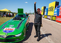 Apr 23, 2017; Baytown, TX, USA; NHRA top alcohol funny car driver Doug Gordon celebrates after winning the Springnationals at Royal Purple Raceway. Mandatory Credit: Mark J. Rebilas-USA TODAY Sports