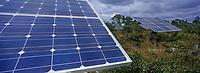 Les Bahamas /Ile d'Andros/South Andros: le Eco-Lodge-Tiamo Resort - les capteurs solaires qui produisent l'électricité de l'Hotel