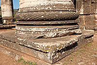 Ionic pillar base of the Temple of Artimis Sardis, originally the fourth largest Ionic temple when it was originally built in 300 B.C. In 150 AD under Roman rule when the worship  of the Emperor required all Roman cities to have a Temple dedicated to the Imperial family. The temple of Artimis was split into two sections with one half for Artemis and the Empress Faustina and the other for Zeus and Emperor Antoninus Pius and the present construction shows elements of Greek and Roman styles. Sardis archaeological site, Hermus valley, Turkey.