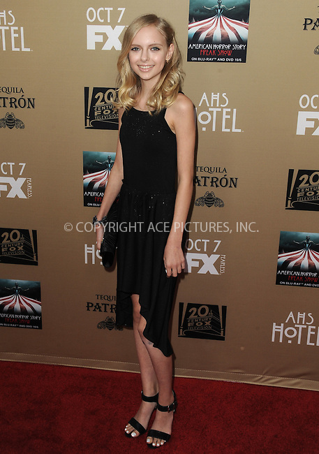 WWW.ACEPIXS.COM<br /> <br /> October 3 2015, LA<br /> <br /> Jessica Belkin arriving at the premiere of FX's 'American Horror Story: Hotel' at the Regal Cinemas L.A. Live on October 3, 2015 in Los Angeles, California.<br /> <br /> <br /> By Line: Peter West/ACE Pictures<br /> <br /> <br /> ACE Pictures, Inc.<br /> tel: 646 769 0430<br /> Email: info@acepixs.com<br /> www.acepixs.com