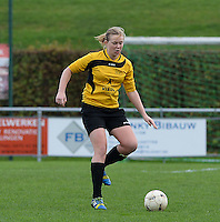 20151128 - PITTEM , BELGIUM : Silke Van De Kerckhove pictured during a soccer match between the women teams of DVK Egem Ladies and KVK Svelta Melsele  , during the eleventh matchday in the Second League - Tweede Nationale season, Saturday 28 November 2015 . PHOTO DAVID CATRY
