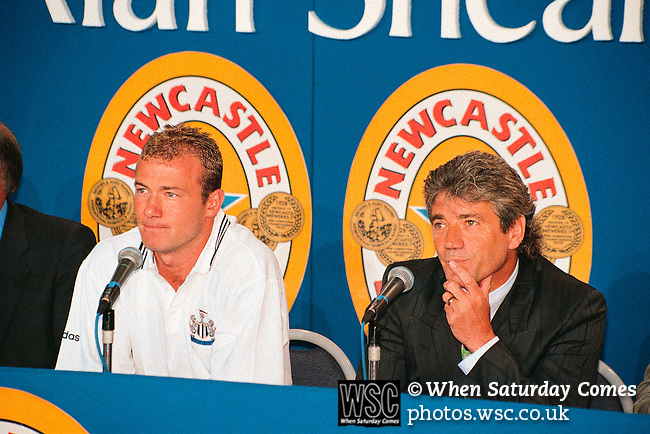 Kevin Keegan, Alan Shearer 30/07/1997<br /> St James' Park. Shearer signs for Newcastle Utd. Photo by Tony Davis
