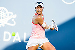 August 2, 2019: Kristie Ahn (USA) in action where she was defeated by Donna Vekic (CRO) 7-5, 6-0 in the quarterfinals of the Mubadala Silicon Valley Classic at San Jose State in San Jose, California. ©Mal Taam/TennisClix/CSM