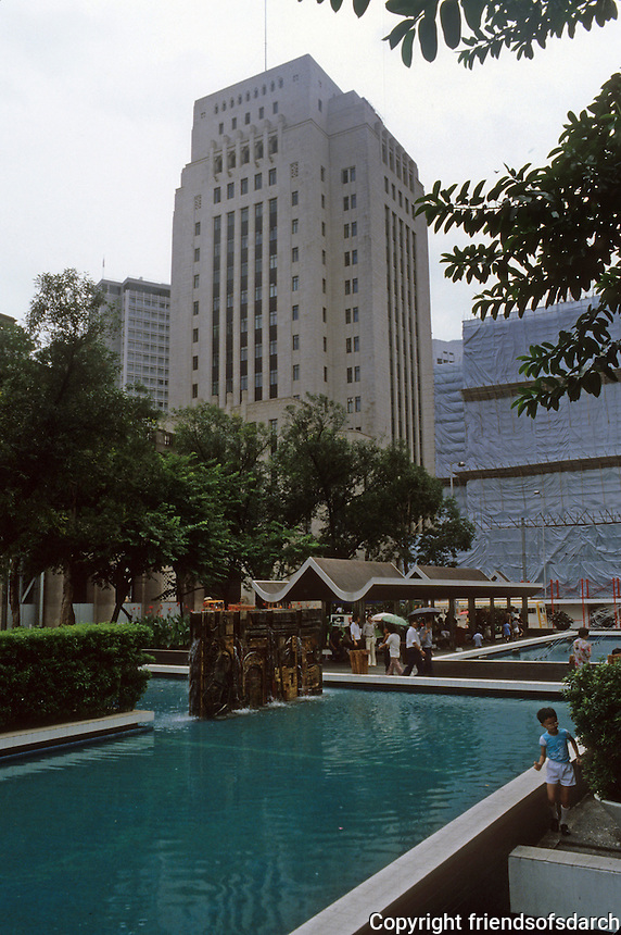Hong Kong: Plaza, Bank of China (?), landscaping. Photo '82.