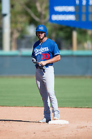 Los Angeles Dodgers first baseman Meaux Landry (33) stands on second base after hitting a double during an Instructional League game against the San Diego Padres at Camelback Ranch on September 25, 2018 in Glendale, Arizona. (Zachary Lucy/Four Seam Images)