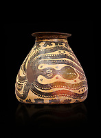 Minoan decorated clay alabastra with stylised octopus amongst rocks design, Konssos-Little Palace 1450-1370 BC; Heraklion Archaeological  Museum, black background
