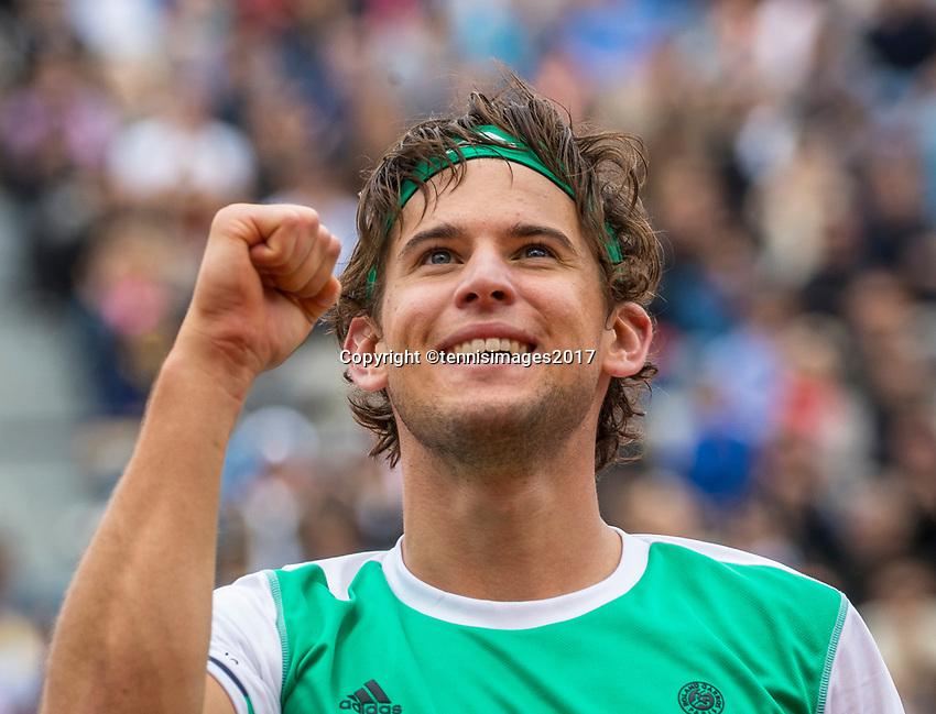 Paris, France, 7 June, 2017, Tennis, French Open, Roland Garros,  Dominic Thiem (AUT) in jubilation after defeating second seeded Novak Djokovic (SRB)<br /> Photo: Henk Koster/tennisimages.com