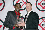 11 January 2008:  O'Brian White (l) of the University of Connecticut holds his 2007 Hermann Trophy with Missouri Athletic Club President, G. Scott Engelbrecht.  The 2007 Hermann Trophy was presented to the NCAA Division I female and male players of the year by the Missouri Athletic Club in St. Louis, Missouri.