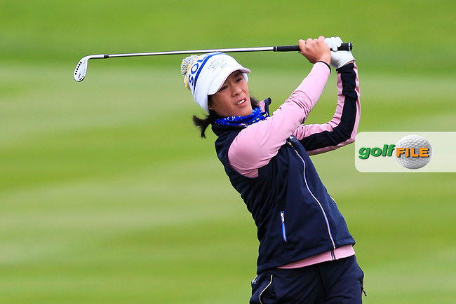 Celine Boutier of Team Europe on the 2nd during Day 2 Fourball at the Solheim Cup 2019, Gleneagles Golf CLub, Auchterarder, Perthshire, Scotland. 14/09/2019.<br /> Picture Thos Caffrey / Golffile.ie<br /> <br /> All photo usage must carry mandatory copyright credit (© Golffile | Thos Caffrey)
