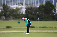 Robbie Cannon from Ireland on the 4th green during Round 3 Singles of the Men's Home Internationals 2018 at Conwy Golf Club, Conwy, Wales on Friday 14th September 2018.<br /> Picture: Thos Caffrey / Golffile<br /> <br /> All photo usage must carry mandatory copyright credit (&copy; Golffile | Thos Caffrey)