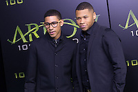 VANCOUVER, BC - OCTOBER 22: Keiynan Lonsdale and Franz Drameh at the 100th episode celebration for tv's Arrow at the Fairmont Pacific Rim Hotel in Vancouver, British Columbia on October 22, 2016. Credit: Michael Sean Lee/MediaPunch