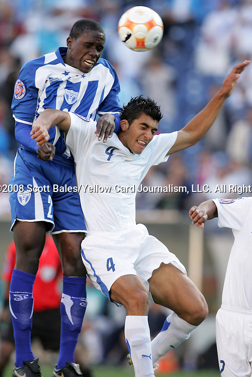 20 March 2008: Quiarol Arzu (HON) (2) heads the ball over Cristian Noriega (GUA) (4). The Honduras U-23 Men's National Team defeated the Guatemala U-23 Men's National Team 6-5 on penalty kicks after a 0-0 overtime tie at LP Field in Nashville,TN in a semifinal game during the 2008 CONCACAF Men's Olympic Qualifying Tournament. With the penalty kick victory, Honduras qualifies for the 2008 Beijing Olympics.