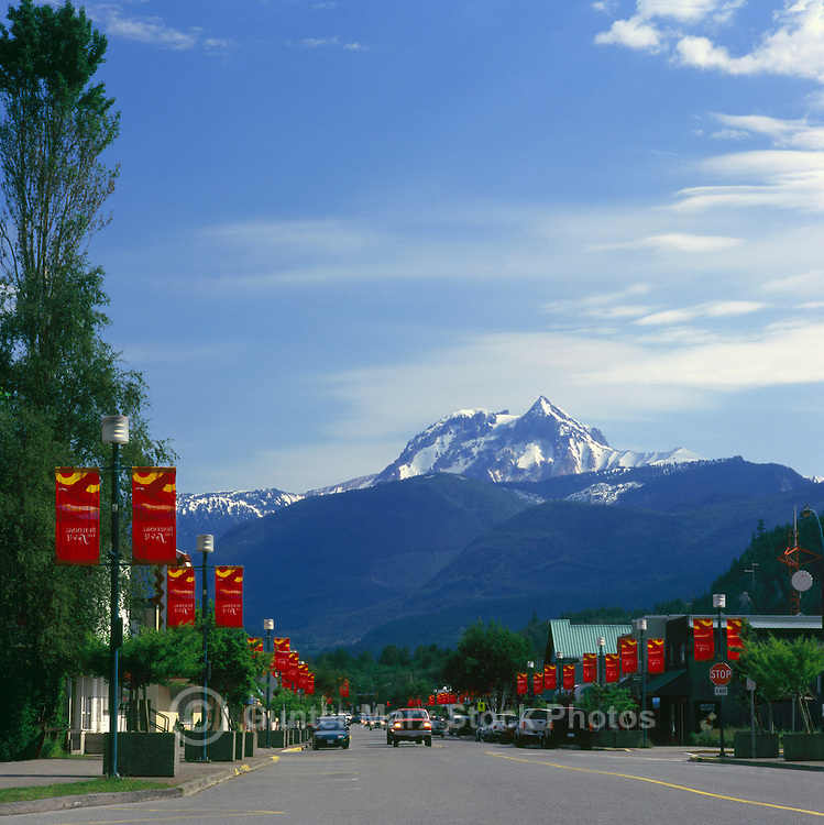 Squamish, BC, British Columbia, Canada - Mount Garibaldi (elev 2675 m) in Garibaldi Provincial Park, City Street Scene - Outdoor Recreation Capital of Canada