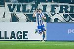 Solna 2014-03-31 Fotboll Allsvenskan AIK - IFK G&ouml;teborg :  <br /> G&ouml;teborgs Lasse Vibe har gjort 1-0 och jublar <br /> (Foto: Kenta J&ouml;nsson) Nyckelord:  AIK Gnaget Solna IFK G&ouml;teborg Bl&aring;vitt jubel gl&auml;dje lycka glad happy
